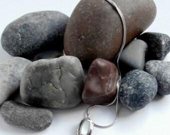 Sterling Silver - Moonstone Necklace - Repurposed - Gemstone Pendant