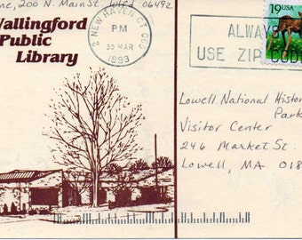 Used Postcard, Wallingford Public Library, CT., dated 1993, good shape