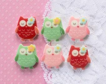 6 Pcs Assorted Sweet Owl Cabochons - 20x20mm