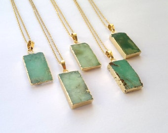 Chrysoprase Necklace Chrysoprase Pendant Green Stone Necklace Rough Raw Stone Slice Pendant Gold Edged Green Necklace Chrysoprase Jewelry