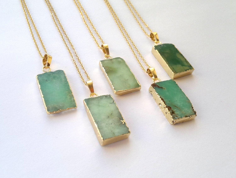 Chrysoprase Necklace Chrysoprase Pendant Green Stone Necklace