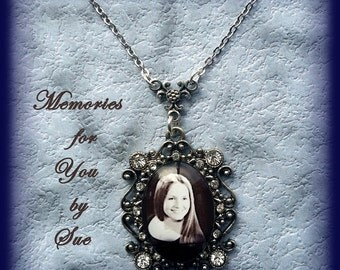 Custom-Personalized-Antique Silver Photo Pendant Necklace with Clear Stones-Keepsake Jewelry-Memory-Remembrance Gift