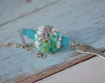 Beaded Jewelry - Angel Wing - Silver Necklace - Blue, Green and Grey