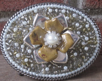 silver & gold belt buckle pearl belt buckle embellished Flower Southwestern Cowgirl Country Western Bohemian Glass pearls beaded Belt Buckle