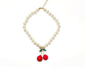 Chunky Glass Pearl Necklace with a Large Metal Cherry pendant - Vintage, Classic, Pinup