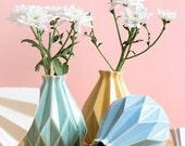Origami inspired  ceramic Gift, Clay vase, choose - Light green / Yellow / Light blue glaze,  Home decor vase, Pottery gift