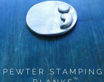 Pewter Stamping Blanks - Round w/ Semicolons - 28mm Stamping Blank for Jewelry Designs - Wholesale Handstamping Supplies (M211A)