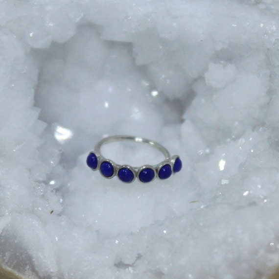 2mm Lapis Tragus Earring - Silver Nose Hoop - Nose Ring - Cartilage Earring - Tragus Ring 18g - Daith Ring - Helix Hoop - Nose Piercing