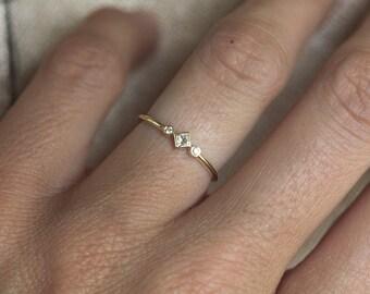 Petite Diamond Engagement Ring Princess Simple Gold Three Stone