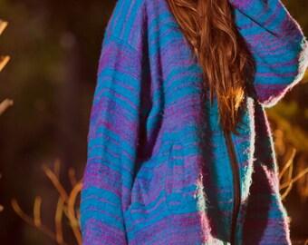 Kashmiri Pixie Hood Sweater (Mostly Blue) - Jacket Hoodie Pixie Hood Festival Boho Jumper Gypsy Hippie Jacket Kashmiri Sweatshirt