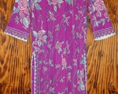 Pucci Vintage 70s Night Gown Form Fit Rogers Fuschia and Pink Roses