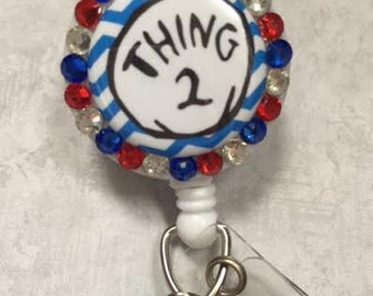 Bling Retractable Badge Holder - Thing  - Red and Blue Badge Reel  -  Alligator Swivel Pinch Clip – Nursing Badge - Teachers - Professional