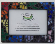 """Mosaic Picture Frame, 4"""" x 6"""" Picture Size, Black with Rainbow Glass, Handmade Stained Glass Mosaic Design"""
