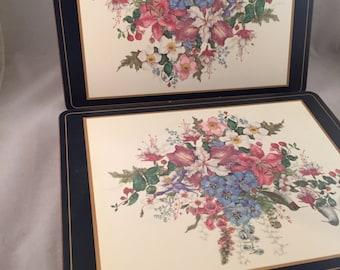 Vintage Acrylic Placemats,Floral Designs, Set of 8