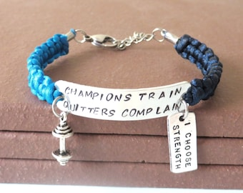 Champions Train Quitters Complain Weightlifing Bodybuilding Barbell I Choose Strength Bracelet You Choose Your Cord Color(s)