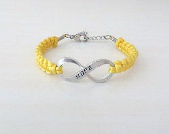 Yellow Awareness Hope Charm Bracelet Endometriosis Bone Cancer Osteosarcoma Spina Bifida Suicide Liver Diseases Armed Forces Return