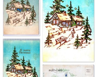 Vintage HTL (Hold-To-Light) Postcard: Cabin in the Snowy Pines
