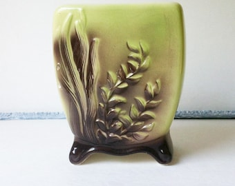 Vintage Pottery Vase Royal Copley Marine Footed Mid Century Green and Brown Succulent Planter