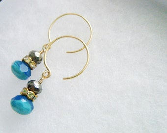 Turquoise earrings Turquoise glass with pyrite earrings Turquoise dangle earrings Bohemian earrings Gold with turquoise jewelry Gift for her
