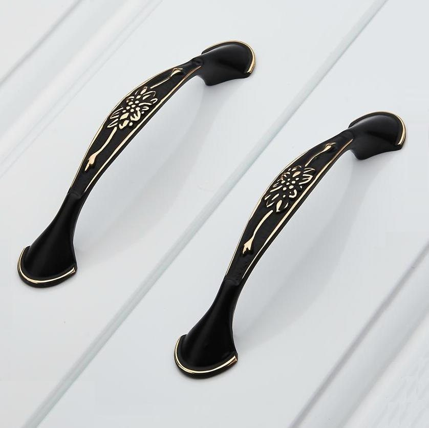 kitchen cabinet handles pulls knobs antique black gold flower. Black Bedroom Furniture Sets. Home Design Ideas