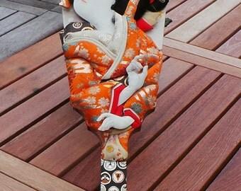 Vintage Japanese Geisha Woman Hagoita Paddle Doll