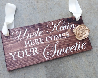 Ring Bearer Sign, Custom Ring Bearer Sign, Personalized Ring Bearer Sign, Flower Girl Sign, Here Comes the Bride Sign