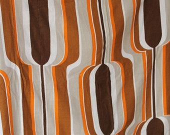 Stunning Curtain Original Vintage Fabric 70s Op Pop Art Psychedelic Space Age Design Waves Panton Visiona style 60s 1970s 1960s Orange Brown