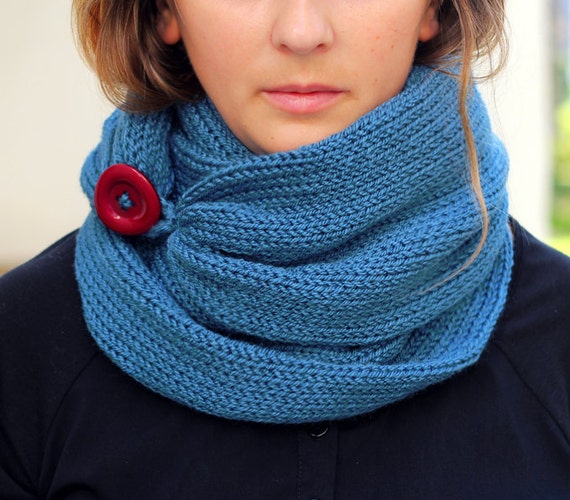Infinity Scarf With Buttons Knitting Pattern : Knit Scarf with button infinity scarf circle scarf by ...