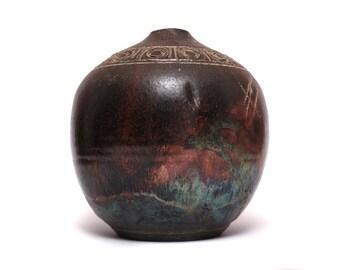 Mid Century Modern Incised Pottery Vessel - Bitossi Style