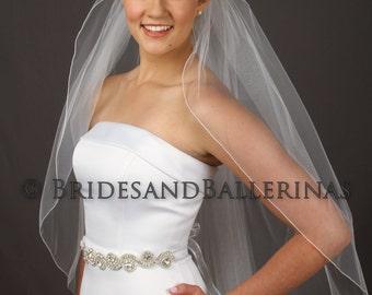 Wedding Veil, Fingertip Length Veil, Ivory Bridal Veil, White Veil, Single Layer Veil, Tulle Veil, Available in any length! Fast Shipping!