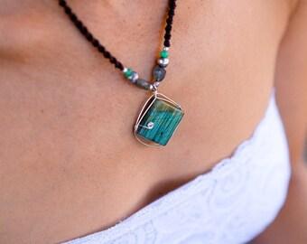 Labradorite Macrame necklace, Labradorite silver pendant, macrame necklace, Long necklace, Boho, Labradorite necklace, Square, Tribal, Gift