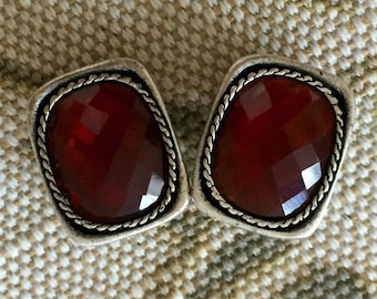 Vintage Chicos Silver Tone with Red Crystal Clip On Earrings