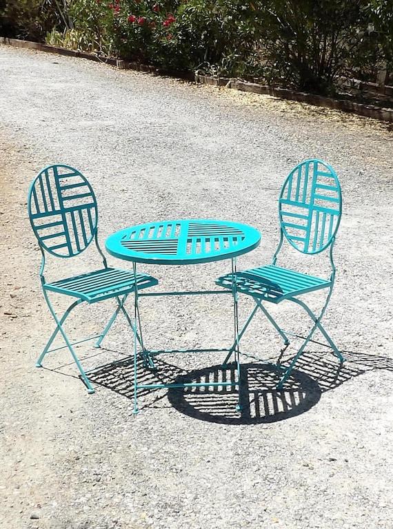 Bistro Set Table Chairs 2 Aqua Turquoise Teal Metal Modern