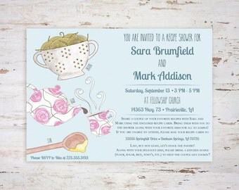 Printable Hand-Drawn 5x7 Recipe Shower Invitation: Colored Pencil Kitchen (Matching Recipe Card Available!)