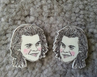 Harry Styles/ One Direction/ 1D/ Illustrated Earrings