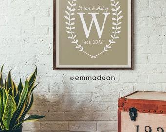 Personalized Monogram Print, Housewarming Monogram Printable, Printable Monogram Poster, Housewarming Poster Gift, Typography Print Gift