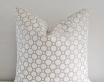 Geo Velvet Pillow Cover Robert Allen Geo Velvet White Pearl 18x18, 20x20 Square Throw Pillow, Accent Pillow, Toss Pillow