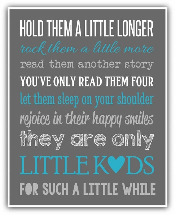 Hold Them A Little Longer Print Custom Colors Sibling Wall