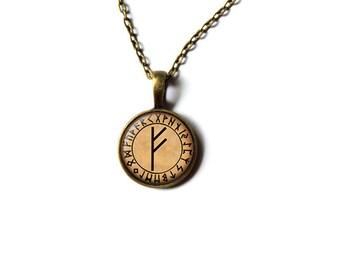 Scandinavian rune necklace Feoh pendant Magic jewelry NW296