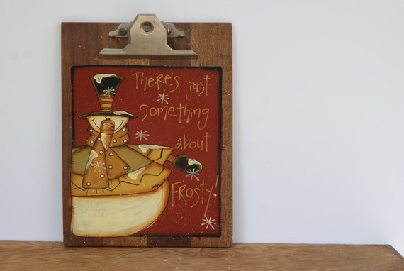 Vintage wood clipboard snowman decor vintage by ramshackles for Rustic snowman decor