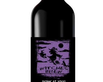 Halloween Wine Labels - Wicked Witch Labels - Trick or Treat - Halloween Party Favor - Thank you Gift Custom Wine Labels - Cider Labels