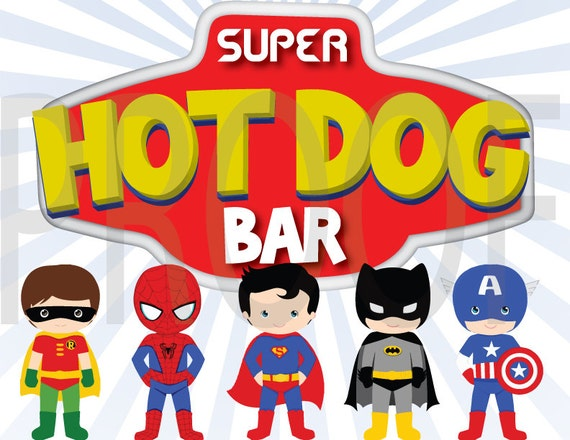 Super Heros Birthday Hot Dog Bar Signs - Superman, Batman, Hulk, Captain America- You print at HOME