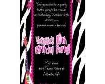 Personalized Girls Rock Star Zebra Print Party Digital Invitations, DIY UPRINT Printable