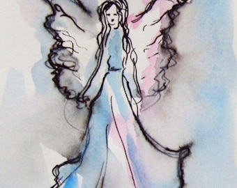 Pink and Blue Angel Painting on Paper, Original Painting, Guardian Angel, Small Paintings, Angel Art, gift Idea, Birthday gift, Gift for Her