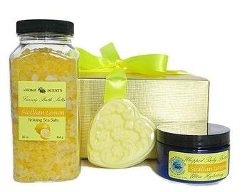 Lemon Bath Gift Set - soap gift set - handmade gifts - lemon soaps -  bath gift set - get well gift - birthday gift - Made in Michigan