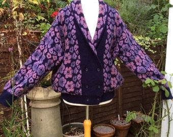 Vintage 80s freesize Designer knitted jacket, made in Scotland
