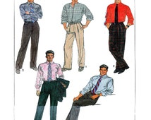 Mens Dress Pants / Trousers Simplicity 8784 Flat Front, Pleats Cuffs Opt Fly Front Zipper Button Waistband & Carriers Size 32 Waist UNCUT