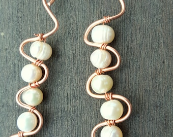 Copper and Freshwater Pearls Dangling earrings