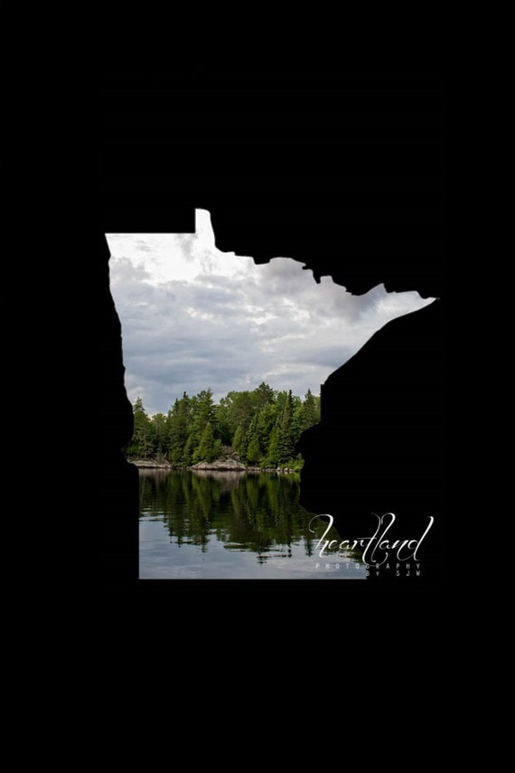 Minnesota Images, Grey and Green, Evergreen Trees, Acrylic Photos, Custom Shaped Art, Personalized States, Boundary Waters, BWCA Prints