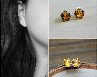 Golden Topaz Earrings Stud November Birthstone Sterling Silver Earring Gold Gemstone Yellow 6MM Gem Everyday Delicate Womens Birthday Gift